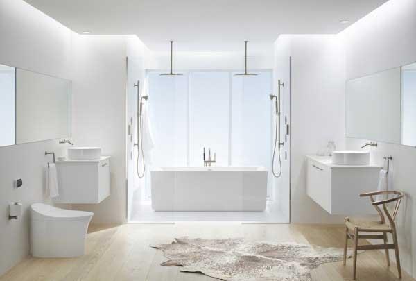 No Brasil existe uma predominância pelo branco na decoração de banheiro